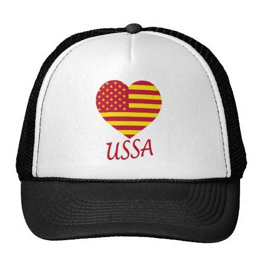 United Socialist States of America Flag Heart Trucker Hats