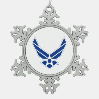 United States Air Force Logo - Blue Snowflake Pewter Christmas Ornament