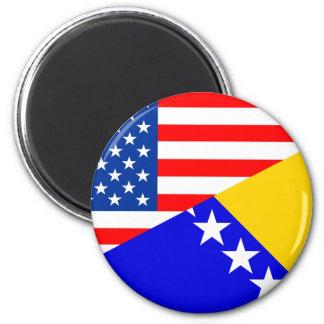 united states america bosnia herzegovina half flag 6 cm round magnet
