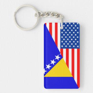 united states america bosnia herzegovina half flag key ring