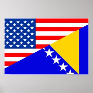 united states america bosnia herzegovina half flag poster