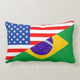 united states america brazil half flag usa country lumbar cushion