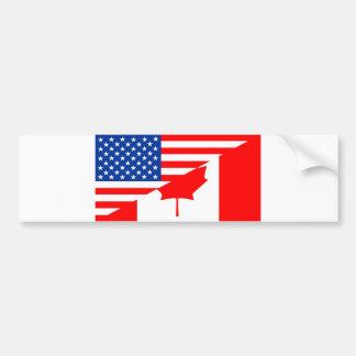 united states america canada half flag usa country bumper sticker