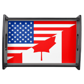 united states america canada half flag usa country serving tray