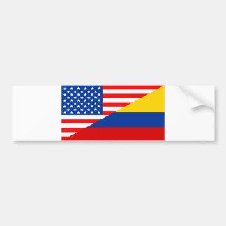 united states america colombia half flag usa count bumper sticker