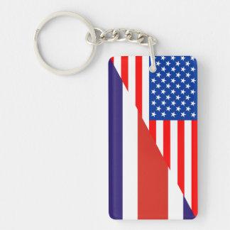 united states america costa rica half flag usa cou Single-Sided rectangular acrylic key ring