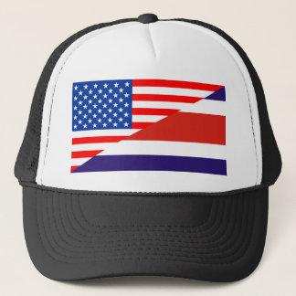 united states america costa rica half flag usa cou trucker hat