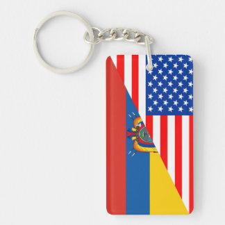 united states america ecuador half flag usa key ring