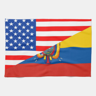 united states america ecuador half flag usa tea towel