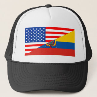 united states america ecuador half flag usa trucker hat