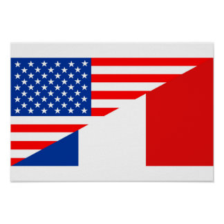 united states america france half flag usa country poster