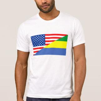 united states america gabon half flag usa country T-Shirt