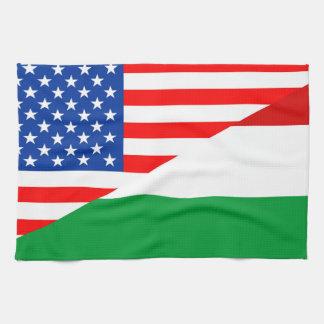 united states america hungary half flag usa tea towel