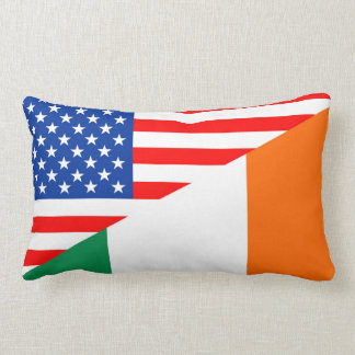united states america ireland half flag usa countr lumbar pillow