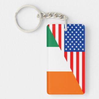 united states america ireland half flag usa countr Single-Sided rectangular acrylic key ring