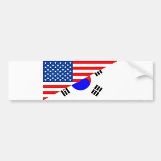 united states america korea half flag usa bumper sticker