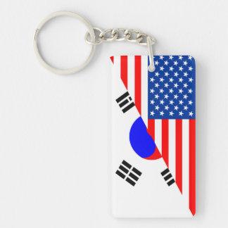 united states america korea half flag usa Single-Sided rectangular acrylic key ring