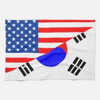 united states america korea half flag usa tea towel