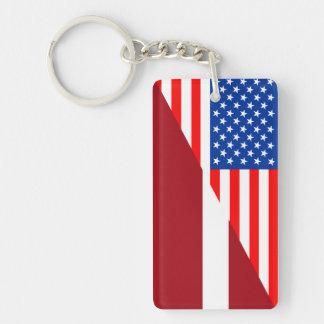 united states america latvia half flag usa country key ring