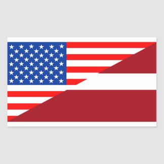 united states america latvia half flag usa country rectangular sticker