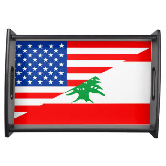 united states america lebanon half flag usa countr serving tray