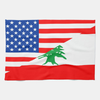 united states america lebanon half flag usa countr tea towel