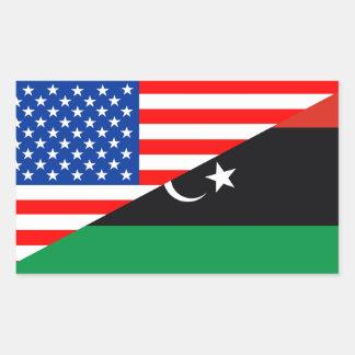 united states america libya half flag usa rectangular sticker