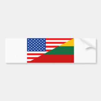 united states america lithuania half flag usa coun bumper sticker