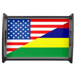 united states america mauritius half flag usa coun serving tray