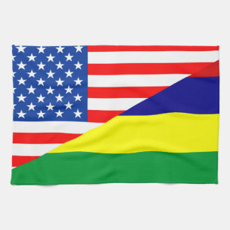 united states america mauritius half flag usa coun tea towel