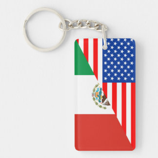 united states america mexico half flag usa country key ring