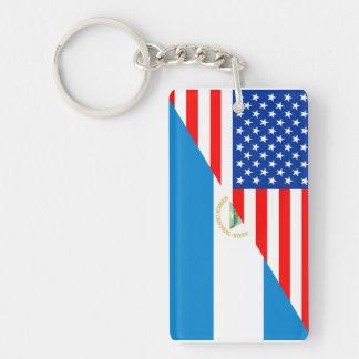united states america nicaragua half flag usa Single-Sided rectangular acrylic key ring
