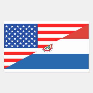 united states america paraguay half flag usa count rectangular sticker