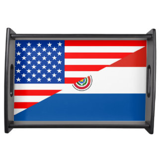 united states america paraguay half flag usa count serving tray