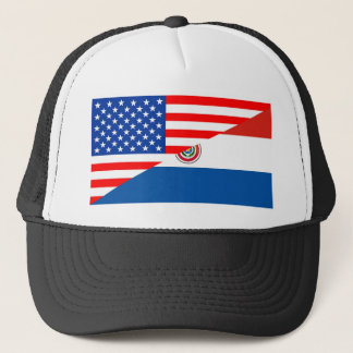 united states america paraguay half flag usa trucker hat
