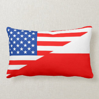united states america poland half flag usa country lumbar cushion