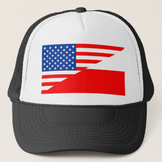 united states america poland half flag usa country trucker hat