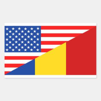 united states america romania half flag usa countr rectangular sticker