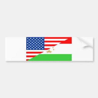united states america tajikistan half flag usa cou bumper sticker
