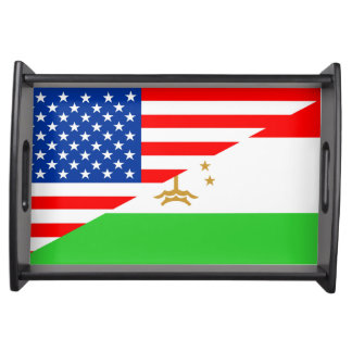 united states america tajikistan half flag usa cou serving tray