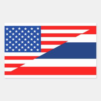 united states america thailand half flag usa rectangular sticker