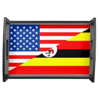 united states america uganda half flag usa country serving tray