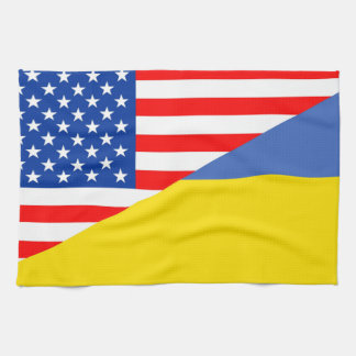 united states america ukraine half flag usa tea towel