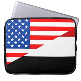 united states america yemen half flag usa country laptop sleeve