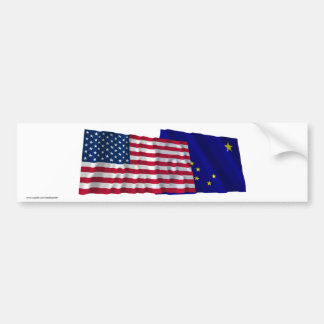 United States and Alaska Waving Flags Bumper Sticker