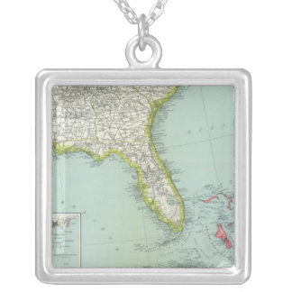 United States and Bahamas Silver Plated Necklace