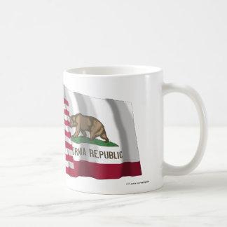 United States and California Waving Flags Coffee Mug