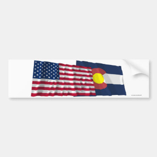 United States and Colorado Waving Flags Bumper Stickers