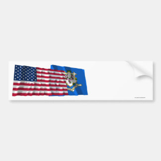 United States and Connecticut Waving Flags Bumper Sticker