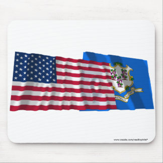 United States and Connecticut Waving Flags Mouse Pad